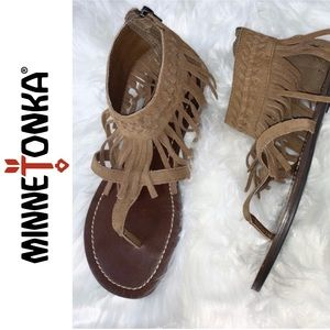 BOGO SALE - Minnetonka Brown Suede Fringe Sandals